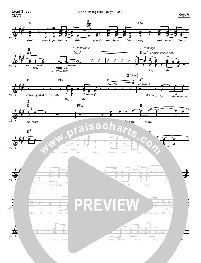 Consuming Fire Lead Sheet Pianovocal Tim Hughes Praisecharts