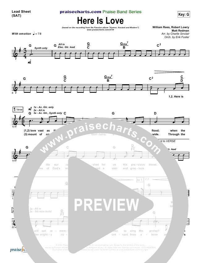 Here Is Love Lead & Piano/Vocal (Matt Redman / Passion)