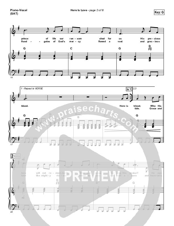 Here Is Love Piano/Vocal (SATB) (Matt Redman / Passion)