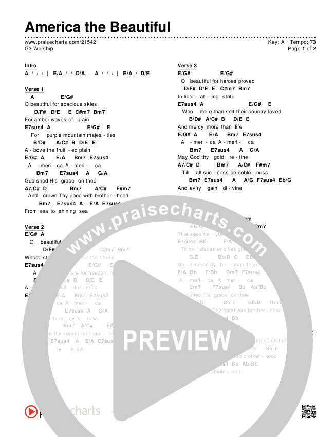 America The Beautiful Chords & Lyrics (G3 Worship)