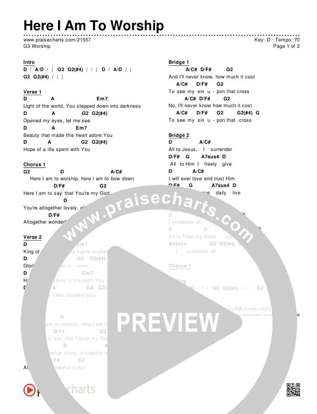 Here I Am To Worship Chords & Lyrics (G3 Worship)