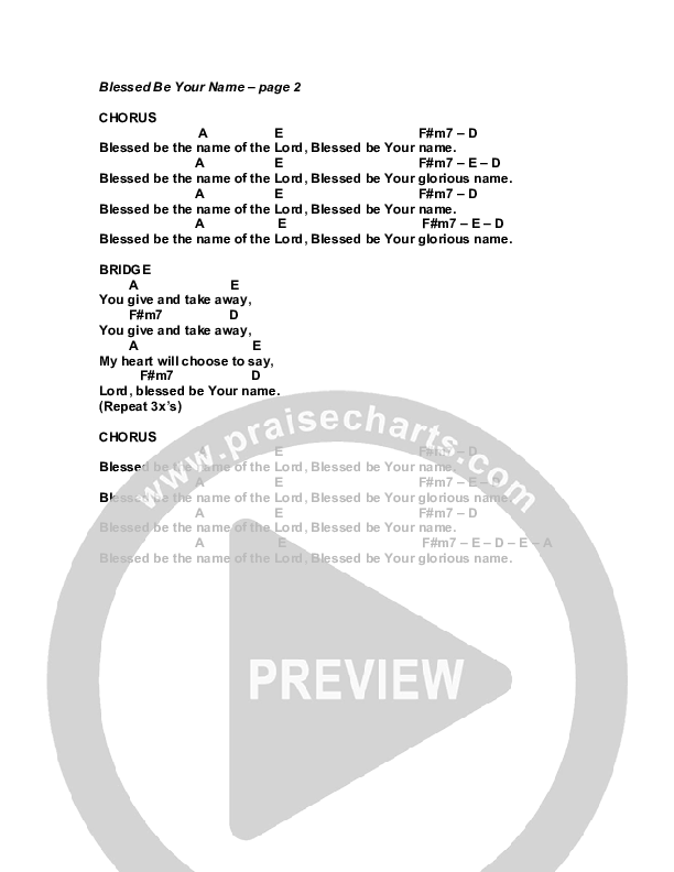 Blessed Be Your Name Chord Chart (G3 Worship)