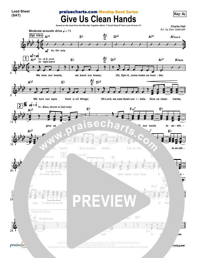 Give Us Clean Hands Lead Sheet (SAT) (Charlie Hall)