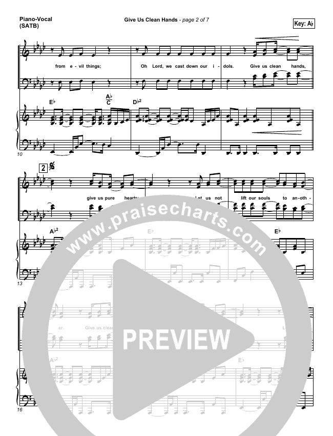Give Us Clean Hands Piano/Vocal (SATB) (Charlie Hall)