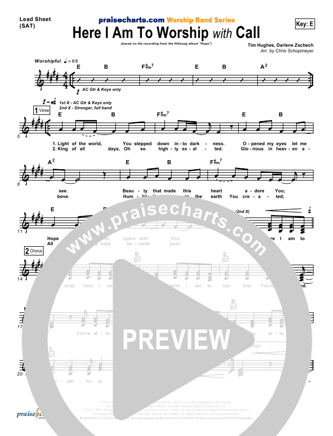 Here I Am To Worship With Call Sheet Music Hillsong Worship Praisecharts Song here i am to worship ukulele chords and tabs by chris tomlin. here i am to worship with call sheet