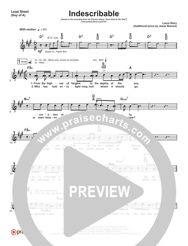 Indescribable Lead Sheet (Melody) (Chris Tomlin / Passion)