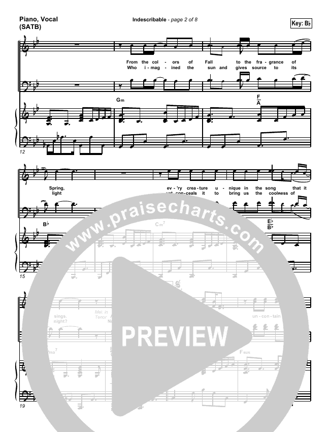 Indescribable Lead Sheet Pianovocal Chris Tomlin Passion