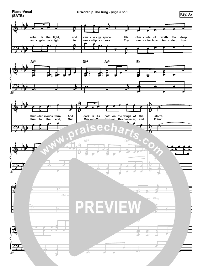 O Worship The King Piano/Vocal (SATB) (Chris Tomlin / Passion)