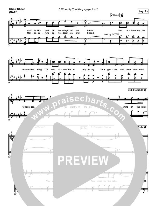 O Worship The King Choir Sheet (SATB) (Chris Tomlin / Passion)