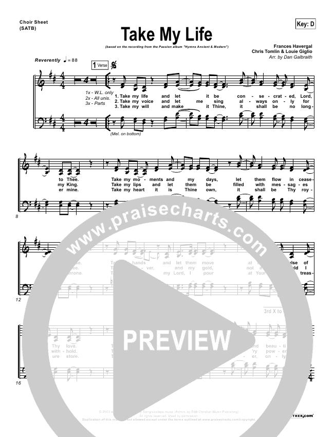 Take My Life Choir Sheet (SATB) (Chris Tomlin / Passion)
