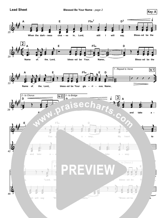 Blessed Be Your Name Lead Sheet (SAT) (Robin Mark)
