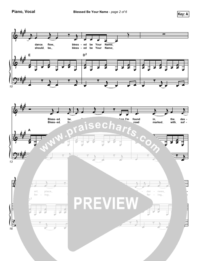Blessed Be Your Name Piano/Vocal (SATB) (Robin Mark)