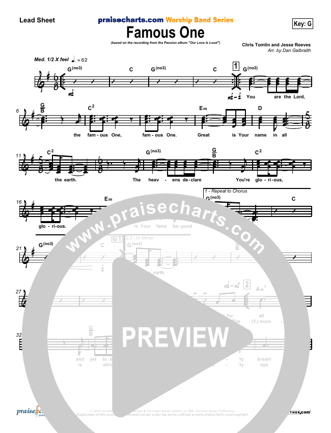 Famous One Lead Sheet (SAT) (Chris Tomlin / Passion)