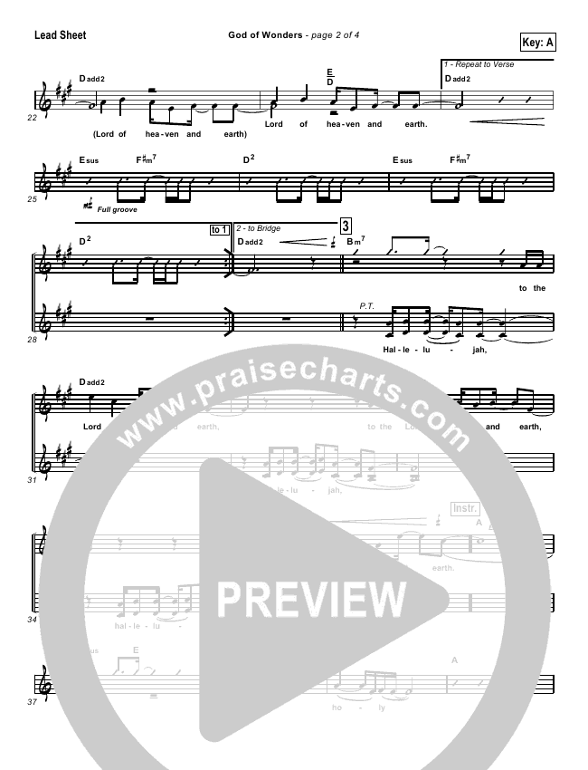 God Of Wonders Lead & Piano/Vocal (Paul Baloche)