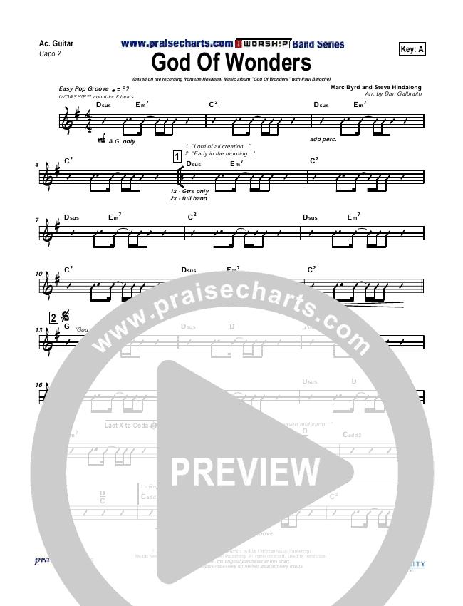 God Of Wonders Rhythm Chart (Paul Baloche)