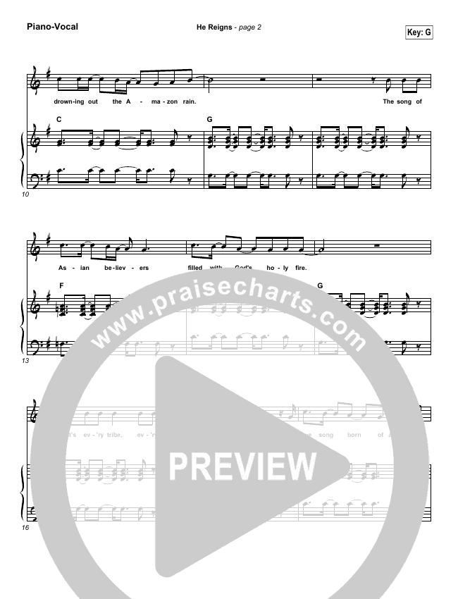 He Reigns Piano/Vocal (SATB) (Newsboys)