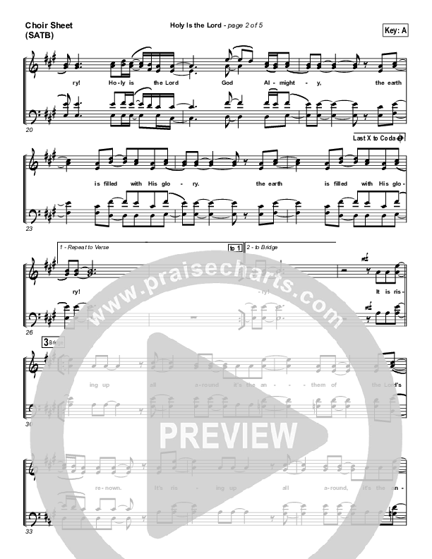 Holy Is The Lord Choir Sheet (SATB) (Chris Tomlin / Passion)