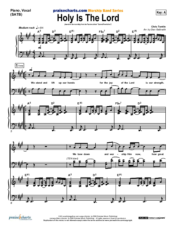 Holy Is The Lord Piano/Vocal (SATB) (Chris Tomlin / Passion)