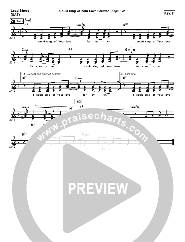 I Could Sing Of Your Love Forever Lead Sheet Pianovocal
