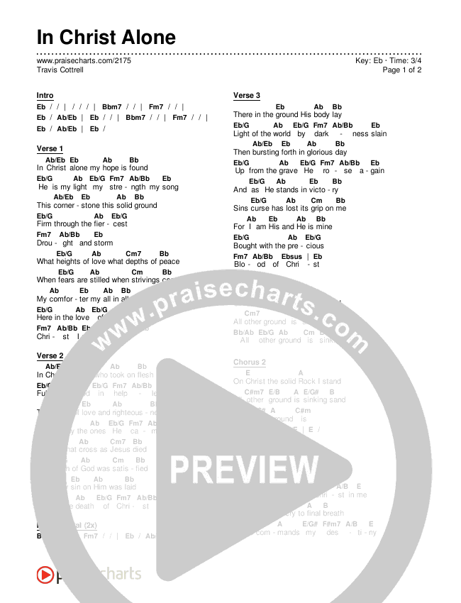 In Christ Alone Chords & Lyrics (Travis Cottrell)