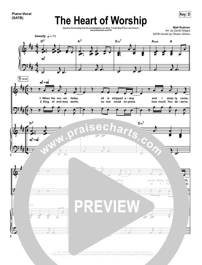 The Heart Of Worship Piano/Vocal (SATB) (Matt Redman)