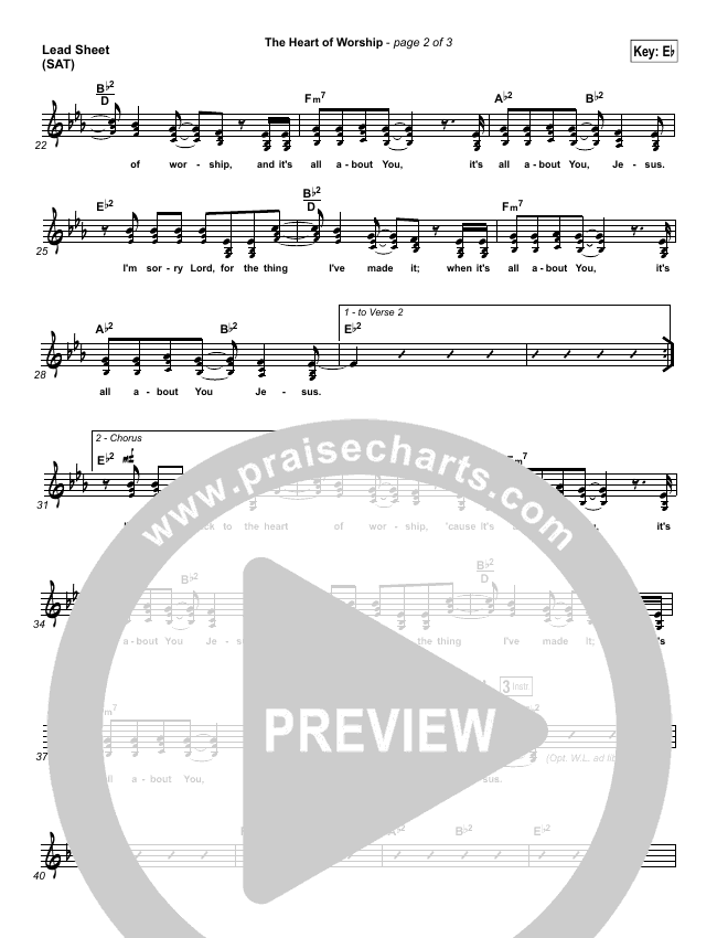 The Heart Of Worship Lead & Piano/Vocal (Matt Redman)