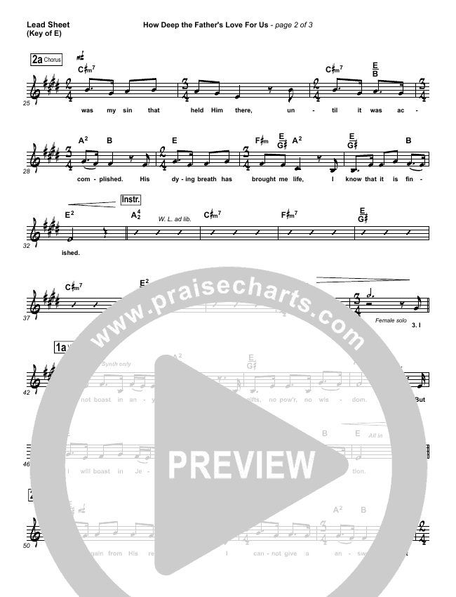 How Deep The Father's Love For Us Lead Sheet (Melody) (Stuart Townend)