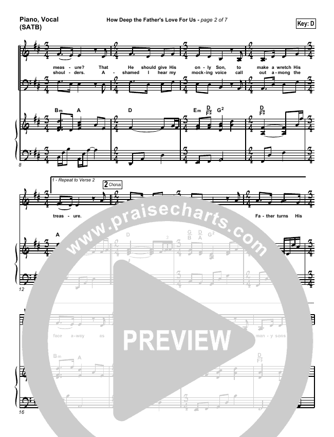 How Deep The Father's Love For Us Piano/Vocal (SATB) (Stuart Townend)