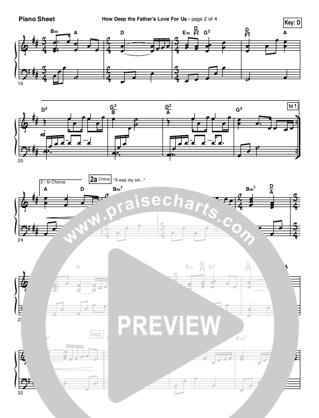 How Deep The Father's Love For Us Piano Sheet (Stuart Townend)