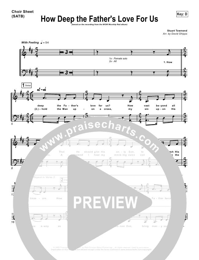 How Deep The Father\'s Love For Us Choir Sheet (SATB) - Stuart ...