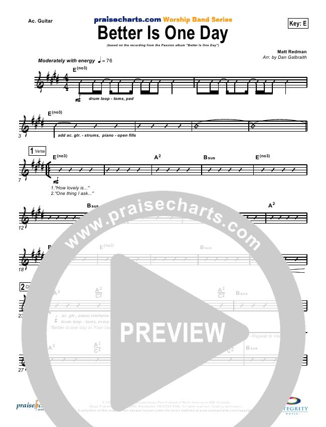 Better Is One Day Orchestration - Matt Redman   PraiseCharts