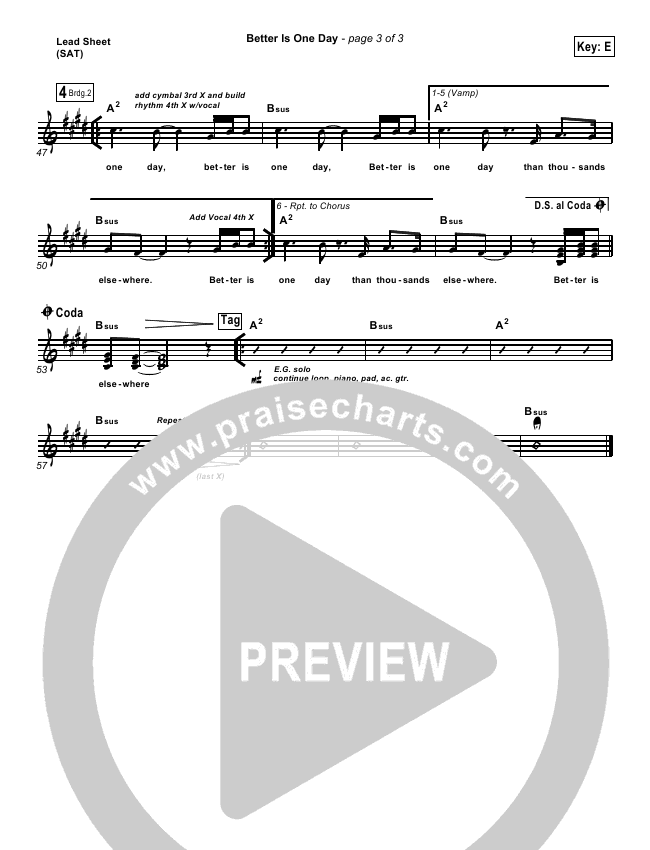 Better Is One Day Lead & Piano/Vocal (Matt Redman)