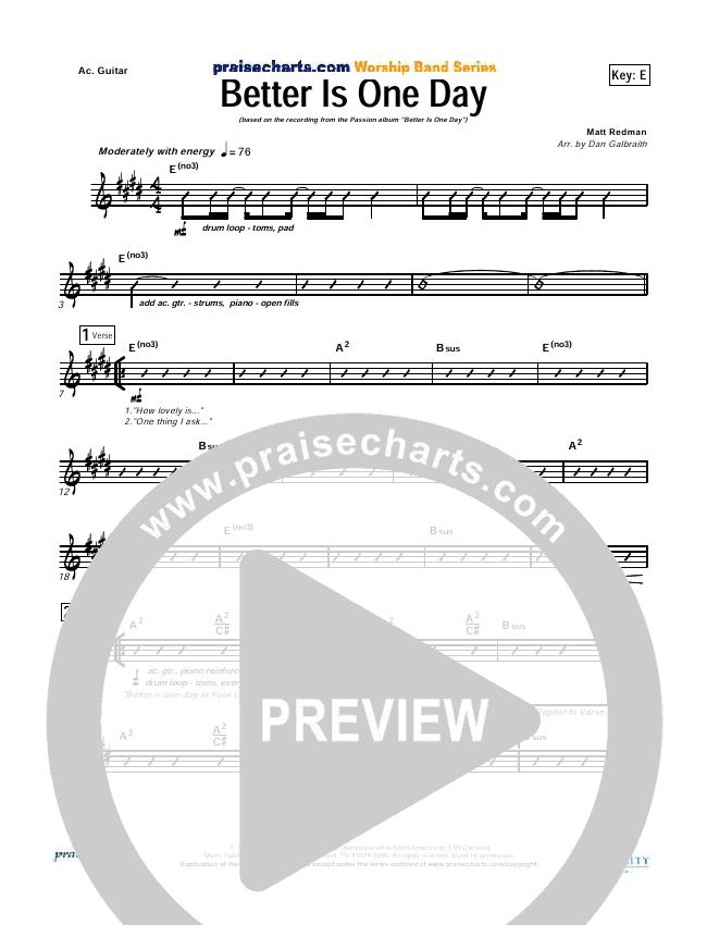 Better Is One Day Rhythm Chart (Matt Redman)