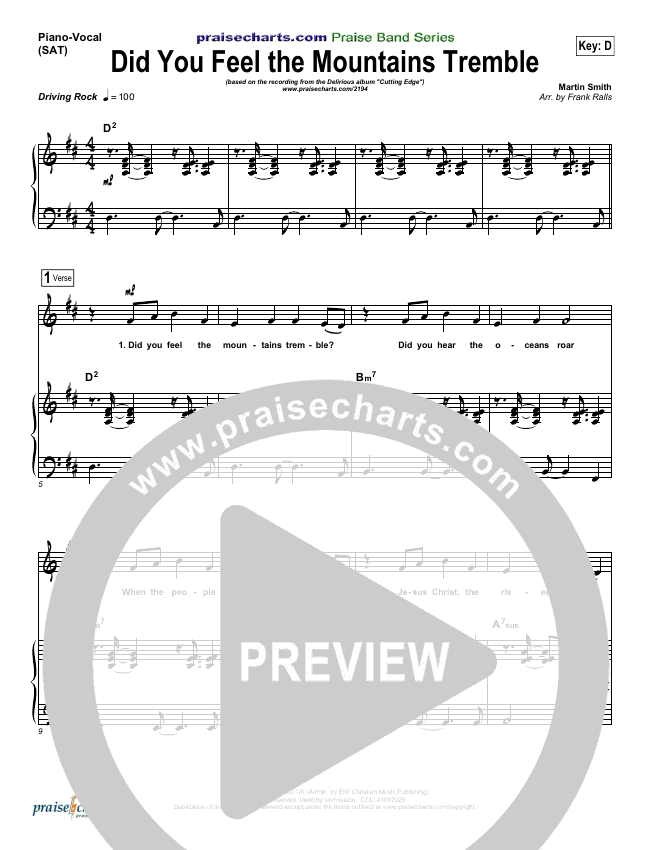 Did You Feel the Mountains Tremble Piano/Vocal (SATB) (Delirious / Passion)