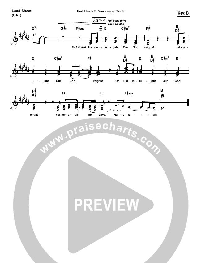 God I Look To You Lead Sheet (SAT) (Bethel Music)