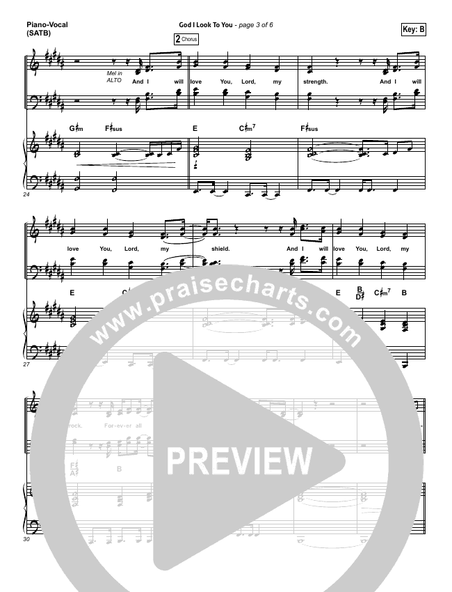 God I Look To You Piano/Vocal (SATB) (Bethel Music)
