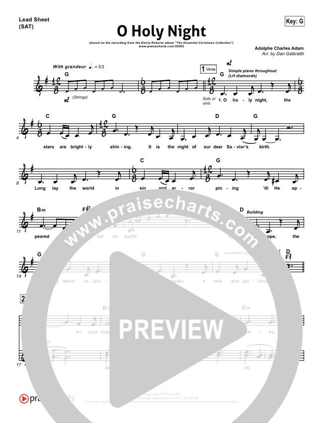 O Holy Night Lead Sheet Pianovocal Kerrie Roberts Praisecharts
