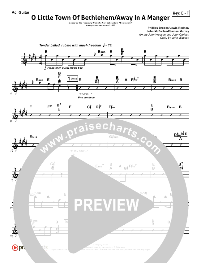 O Little Town Of Bethlehem With Away In A Manger Rhythm Chart