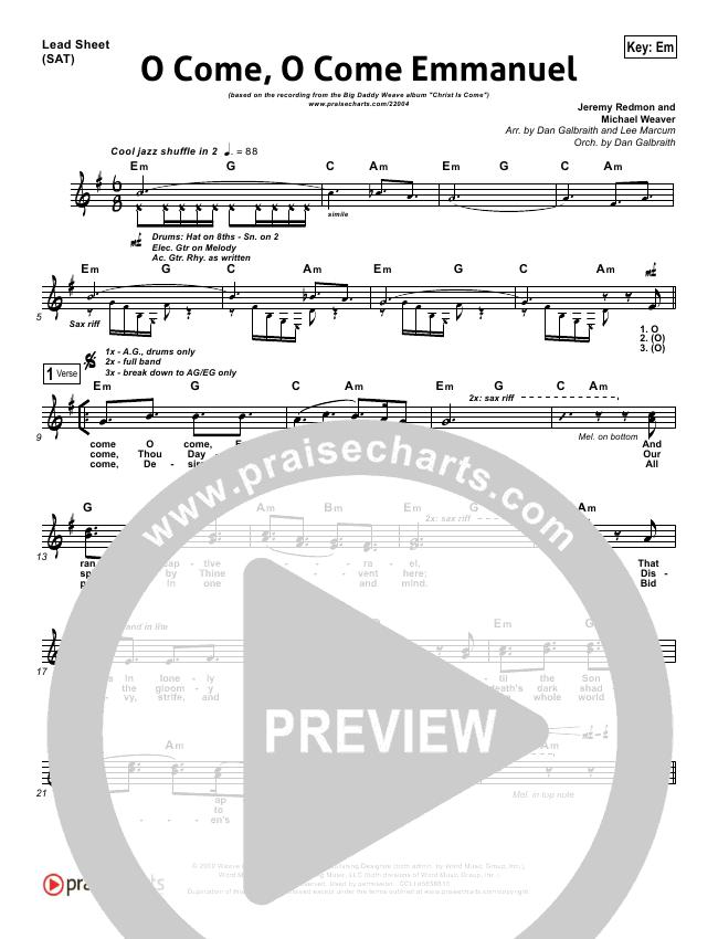 O Come O Come Emmanuel Orchestration - Big Daddy Weave | PraiseCharts