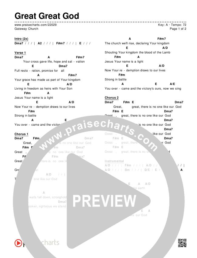 Great Great God Chords & Lyrics (Gateway Worship)