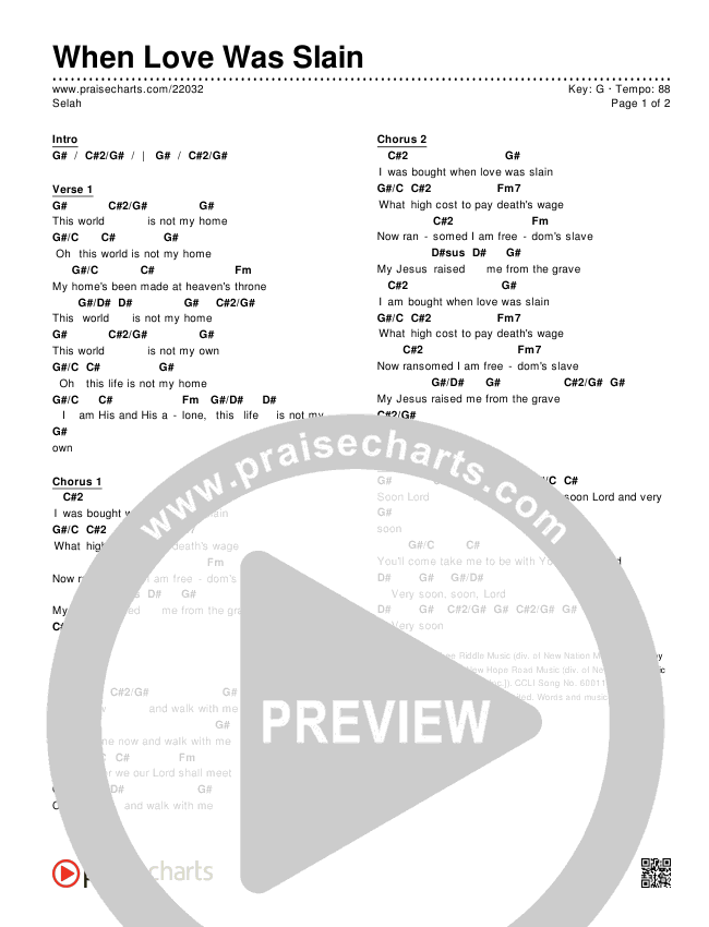 When Love Was Slain Chord Chart (Editable) - Selah | PraiseCharts