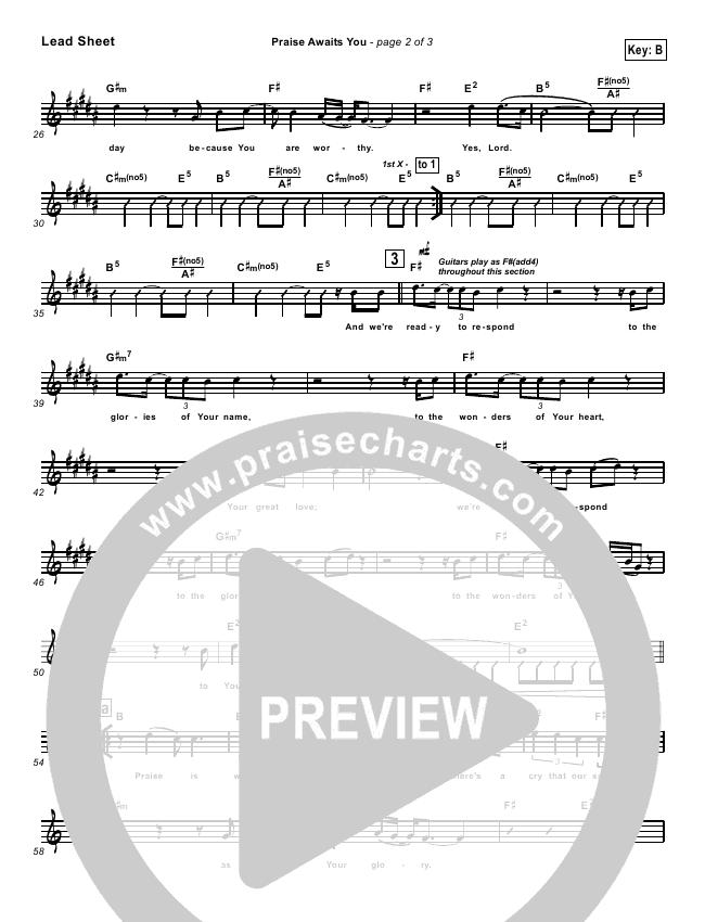 Praise Awaits You Lead & Piano (Matt Redman)