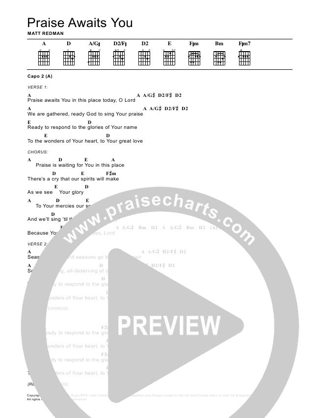 Praise Awaits You Chord Chart (Matt Redman)