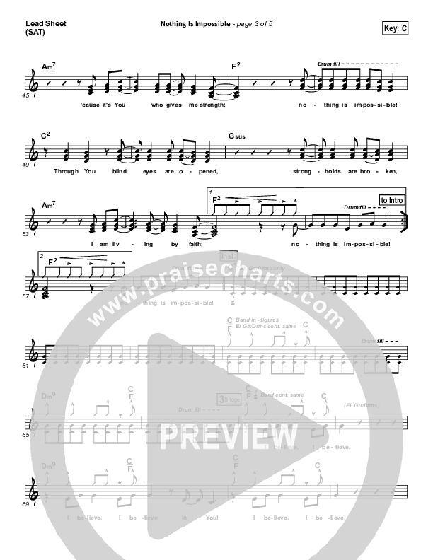 Nothing Is Impossible Lead Sheet (SAT) (Planetshakers)