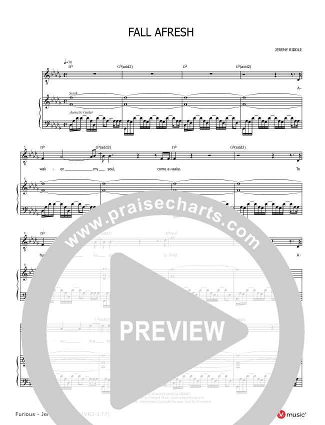 Fall Afresh Piano Sheet Jeremy Riddle Praisecharts
