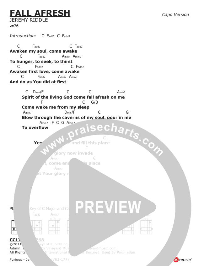 Fall Afresh Chords - Jeremy Riddle   PraiseCharts