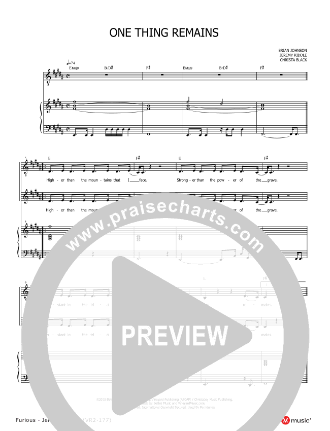 One Thing Remains Piano Sheet (Jeremy Riddle)