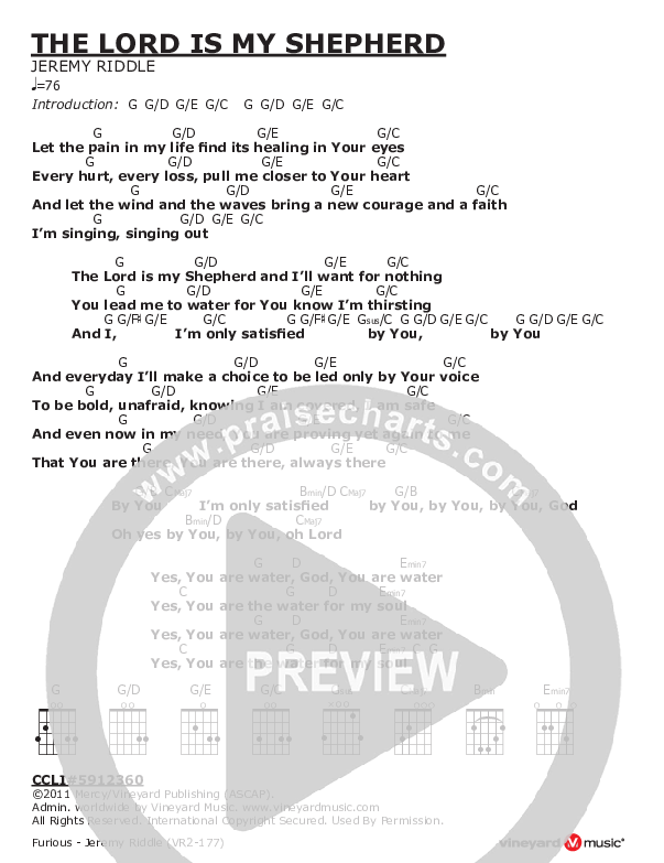 The Lord Is My Shepherd Chord Chart (Jeremy Riddle)