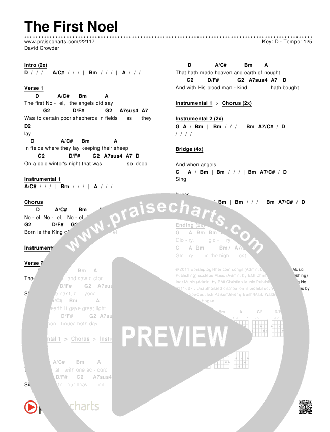 The First Noel Chords David Crowder Praisecharts