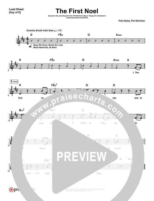 The First Noel Lead Sheet (Melody) (Phil Wickham)